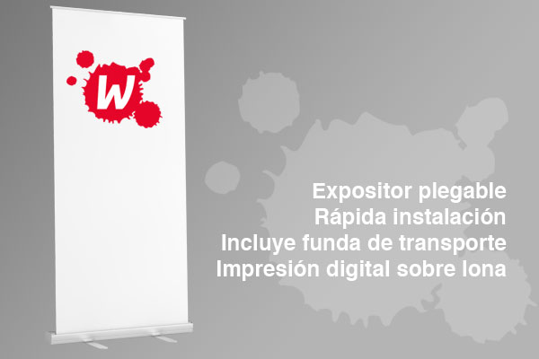 Roll Up Expositor plegable y portátil 100x205 cms