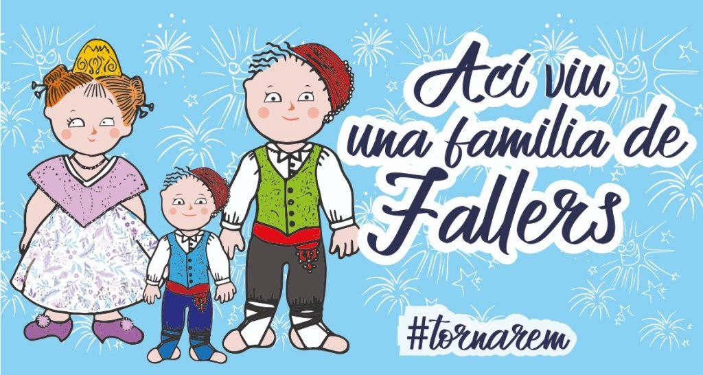 Lona impresa Açí viu una familia de Fallers Tornarem Fallas 2021 para balcones